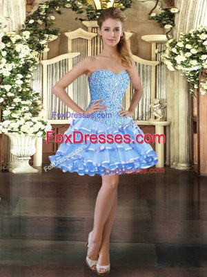 Wonderful Light Blue Organza Lace Up Prom Party Dress Sleeveless Mini Length Beading and Ruffled Layers