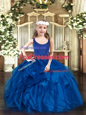 Amazing Organza Sleeveless Floor Length Pageant Gowns and Beading and Ruffles