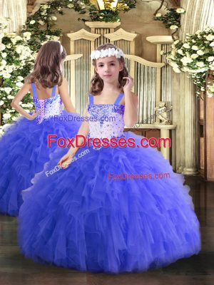 Charming Blue Ball Gowns Straps Sleeveless Tulle Floor Length Lace Up Beading and Ruffles Pageant Dress Womens