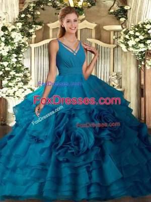 Designer Sleeveless Backless Floor Length Ruffles Ball Gown Prom Dress