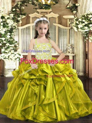 Admirable Floor Length Yellow Green Kids Formal Wear Organza Sleeveless Beading and Ruffles