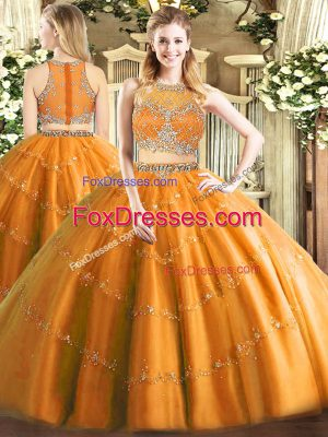 Super Orange Sleeveless Tulle Zipper Sweet 16 Quinceanera Dress for Military Ball and Sweet 16 and Quinceanera