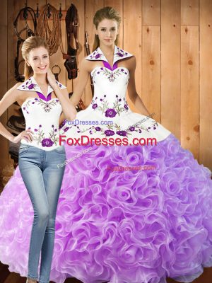Elegant Floor Length Lace Up Ball Gown Prom Dress Lilac for Military Ball and Sweet 16 and Quinceanera with Embroidery