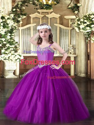 Eggplant Purple Ball Gowns Straps Sleeveless Tulle Floor Length Lace Up Beading Kids Pageant Dress