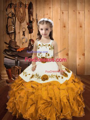 Customized Gold Sleeveless Organza Zipper Kids Formal Wear for Sweet 16 and Quinceanera