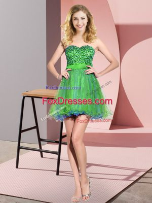 Pretty Mini Length Multi-color Wedding Guest Dresses Tulle Sleeveless Beading and Sequins
