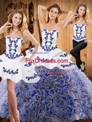 Excellent Strapless Sleeveless Sweep Train Lace Up Quinceanera Dresses Multi-color Satin and Fabric With Rolling Flowers