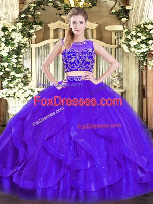 Purple Scoop Neckline Beading and Ruffles Quinceanera Dresses Sleeveless Zipper