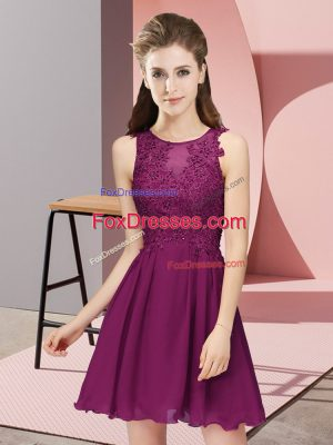 Mini Length Zipper Damas Dress Dark Purple for Prom and Party and Wedding Party with Appliques