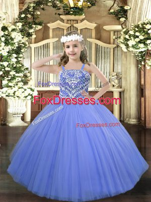 Affordable Tulle Sleeveless Floor Length Pageant Dresses and Beading