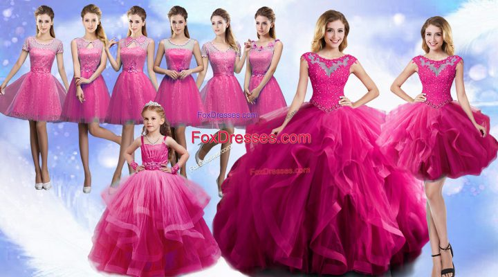 Elegant Sleeveless Organza Floor Length Lace Up Sweet 16 Quinceanera Dress in Fuchsia with Beading and Ruffles