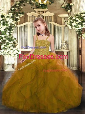 Straps Sleeveless Tulle Little Girl Pageant Dress Beading and Ruffles Lace Up
