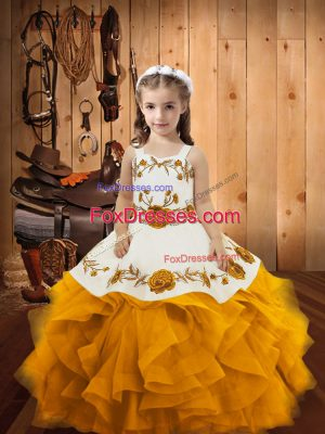 Beautiful Gold Ball Gowns Straps Sleeveless Organza Floor Length Lace Up Embroidery and Ruffles Little Girls Pageant Dress