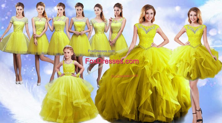 Floor Length Lace Up Vestidos de Quinceanera Yellow for Military Ball and Sweet 16 and Quinceanera with Beading and Ruffles