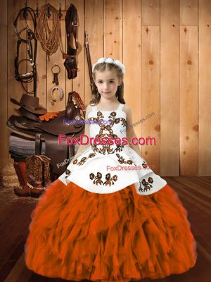 Perfect Sleeveless Lace Up Floor Length Embroidery and Ruffles Little Girl Pageant Dress