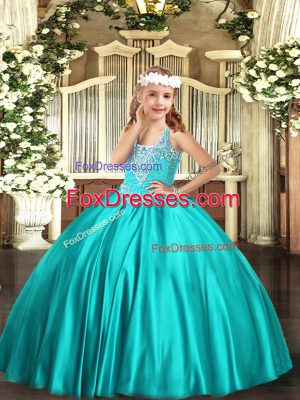 Customized Turquoise Ball Gowns V-neck Sleeveless Satin Floor Length Lace Up Beading Little Girls Pageant Dress Wholesale