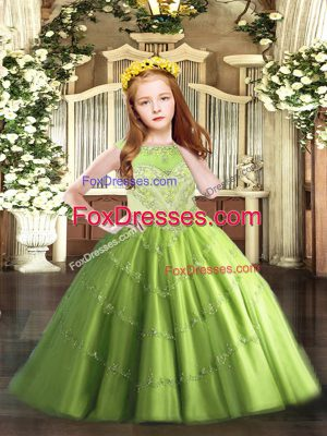 Affordable Floor Length Zipper Little Girls Pageant Gowns for Party and Quinceanera with Beading and Appliques