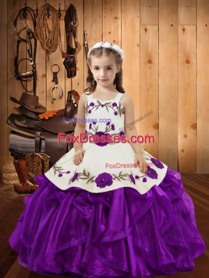 Custom Made Floor Length Ball Gowns Sleeveless Purple Kids Formal Wear Lace Up