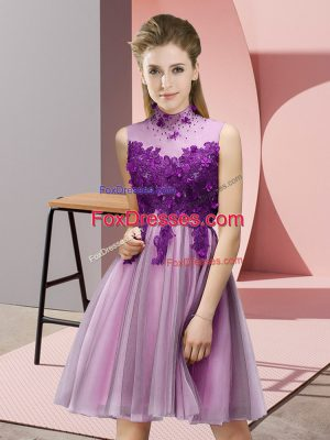 Knee Length Lilac Wedding Guest Dresses Tulle Sleeveless Appliques