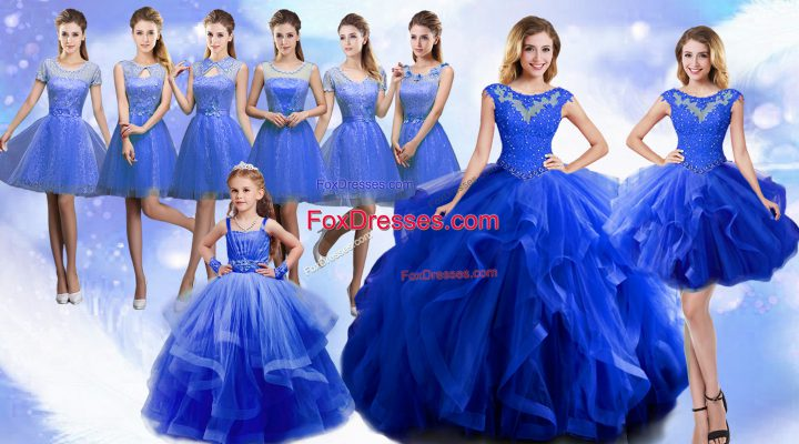 Blue 15th Birthday Dress Military Ball and Sweet 16 and Quinceanera with Beading and Ruffles Scoop Sleeveless Lace Up