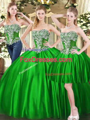 Green Three Pieces Beading Quince Ball Gowns Lace Up Tulle Sleeveless Floor Length