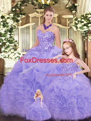 Extravagant Ball Gowns Ball Gown Prom Dress Lavender Sweetheart Organza Sleeveless Floor Length Lace Up