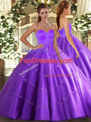 Cute Eggplant Purple Sweetheart Lace Up Beading and Appliques Sweet 16 Dresses Sleeveless