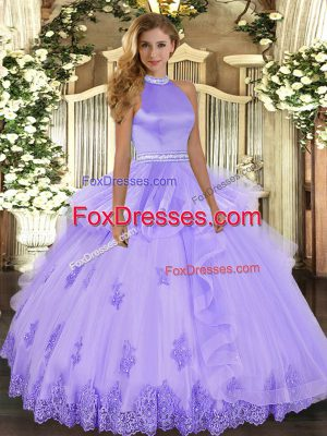 Customized Floor Length Lavender Quinceanera Gown Halter Top Sleeveless Backless