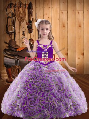 Fabric With Rolling Flowers Straps Sleeveless Lace Up Embroidery and Ruffles Girls Pageant Dresses in Multi-color