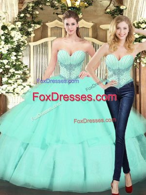 Suitable Apple Green Ball Gowns Organza Sweetheart Sleeveless Beading and Ruffled Layers Floor Length Lace Up Quinceanera Dresses