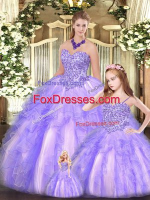 Most Popular Floor Length Lavender Quinceanera Gown Sweetheart Sleeveless Lace Up