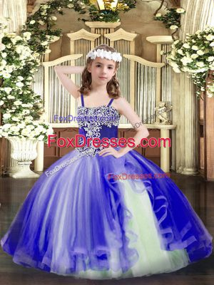 Blue Straps Lace Up Appliques Pageant Dress for Teens Sleeveless