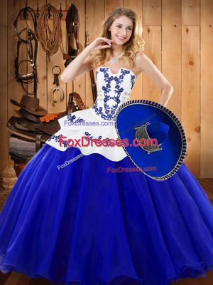 Elegant Sleeveless Tulle Floor Length Lace Up Quinceanera Dresses in Royal Blue with Embroidery