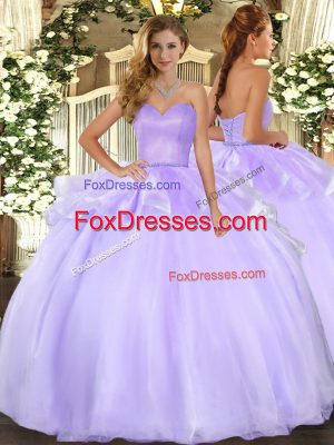 Comfortable Lavender Lace Up Vestidos de Quinceanera Beading and Ruffles Sleeveless Floor Length