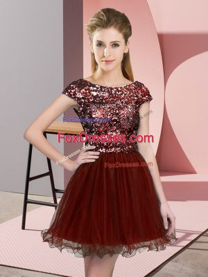 Discount Wine Red Cap Sleeves Sequins Mini Length Wedding Party Dress
