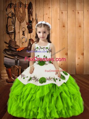 Beautiful Sleeveless Embroidery and Ruffles Floor Length Pageant Gowns For Girls