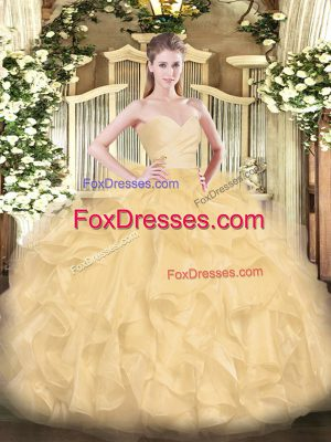 Popular Floor Length Gold Quince Ball Gowns Organza Sleeveless Beading and Ruffles