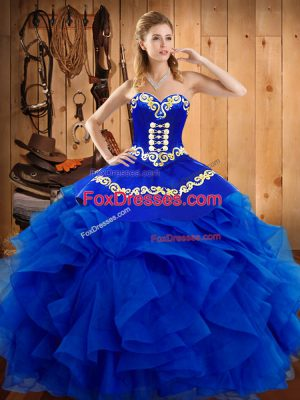 Unique Royal Blue Sleeveless Satin and Organza Lace Up 15th Birthday Dress for Military Ball and Sweet 16 and Quinceanera