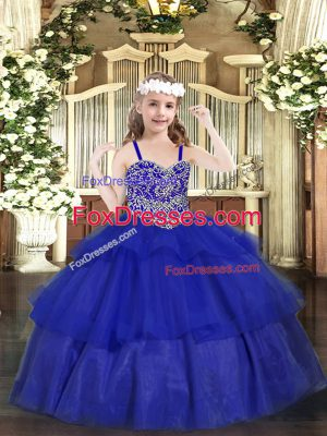 Elegant Organza Straps Sleeveless Lace Up Beading and Ruffled Layers Little Girls Pageant Gowns in Royal Blue