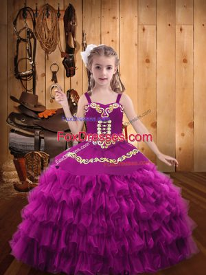 Organza Sleeveless Floor Length Kids Formal Wear and Embroidery and Ruffled Layers