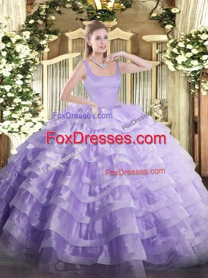 Delicate Lavender Quince Ball Gowns Military Ball and Sweet 16 and Quinceanera with Beading and Ruffled Layers Straps Sleeveless Zipper