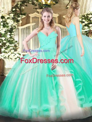 Turquoise Tulle Zipper Quinceanera Gowns Sleeveless Floor Length Ruffles