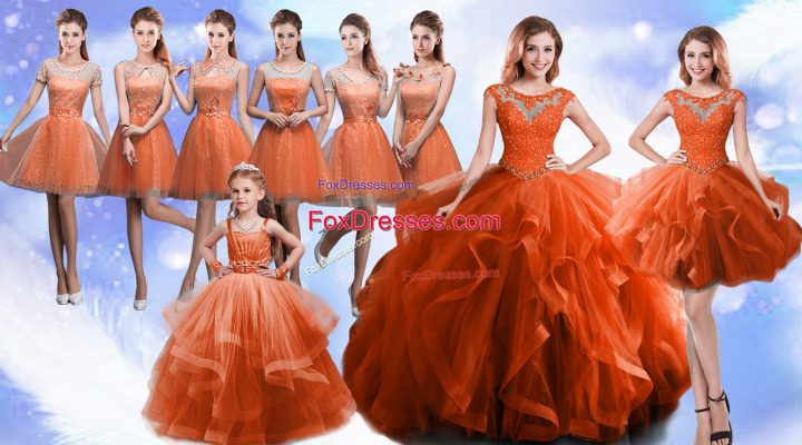 Floor Length Lace Up Quinceanera Gown Rust Red for Military Ball and Sweet 16 and Quinceanera with Beading and Ruffles