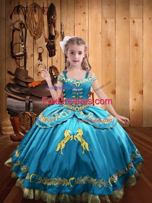 Customized Ball Gowns Girls Pageant Dresses Baby Blue Off The Shoulder Satin Sleeveless Floor Length Lace Up
