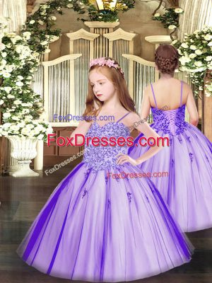 Affordable Spaghetti Straps Sleeveless Tulle Child Pageant Dress Appliques Lace Up