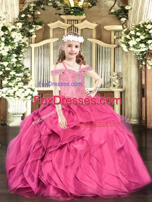Customized Hot Pink Ball Gowns Off The Shoulder Sleeveless Organza Floor Length Lace Up Beading and Ruffles Little Girls Pageant Dress Wholesale
