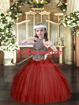 Beauteous Halter Top Sleeveless Tulle Little Girl Pageant Gowns Beading and Ruffles Lace Up