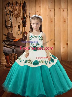 Aqua Blue Straps Neckline Embroidery Child Pageant Dress Sleeveless Lace Up