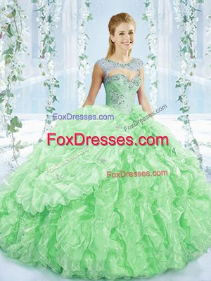 Lovely Sleeveless Beading and Ruching Lace Up Quinceanera Dresses with Apple Green Brush Train