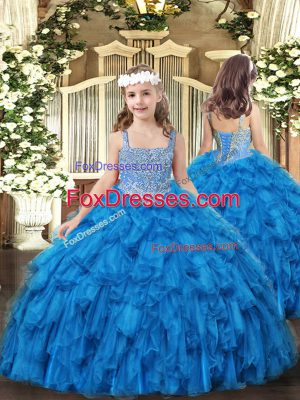 Affordable Straps Sleeveless Lace Up Little Girls Pageant Gowns Baby Blue Tulle
